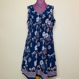 Pretty Pink Blue Pintuck Floral Sun Dress